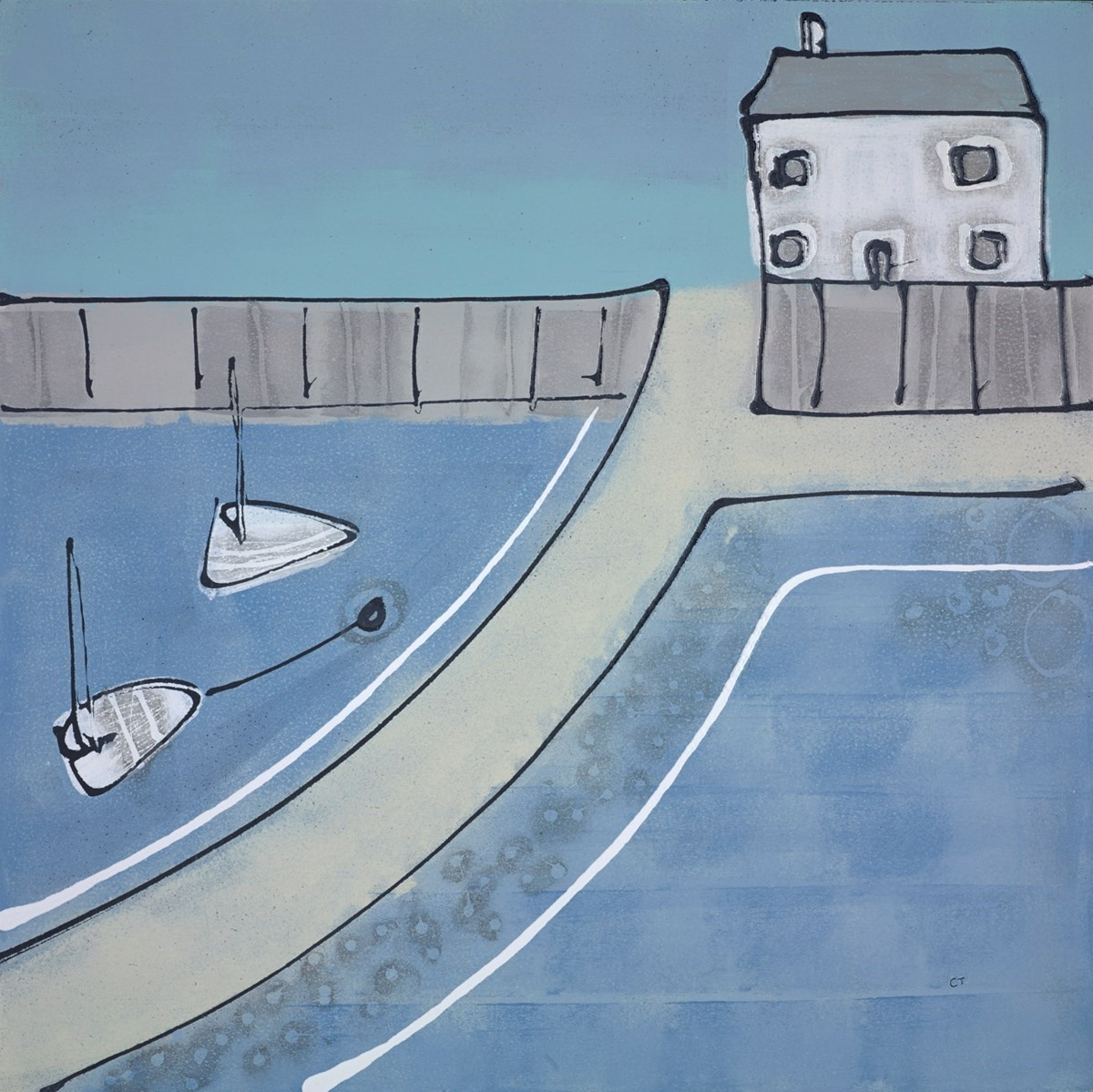Harbour Home by Charlotte Turner -  sized 24x24 inches. Available from Whitewall Galleries